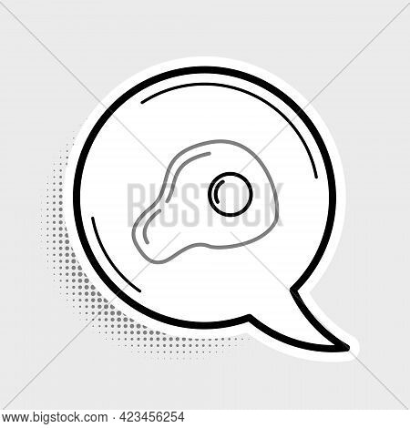 Line Scrambled Eggs Icon Isolated On Grey Background. Home Cooked Food, Fried Egg, Healthy Breakfast