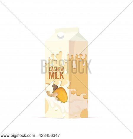 Vegan Cashew Plant Based Milk In Paper Package Box Organic Dairy Free Natural Raw Vegan Milk Healthy