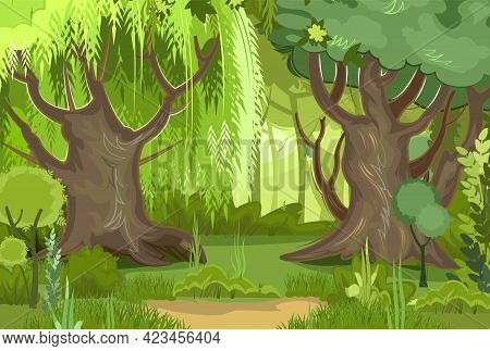 Summer Forest Landscape. Dense Foliage, Shrubs And A Clearing At The Edge. Nature Illustration. Ligh