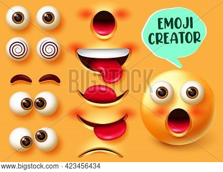 Emoji Creator Vector Set. Emojis 3d Character Kit In Facial Expressions Of Surprised With Editable F