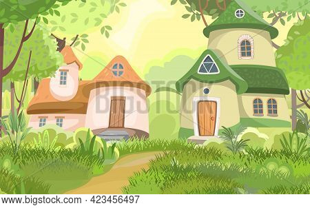 Village Of Gnomes. Fabulous Town With Cute Little Houses. Beautiful Cartoon Landscape. Road. Meadow
