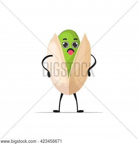 Cute Pistachio Character Cartoon Mascot Nut Healthy Vegetarian Food Concept Isolated