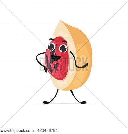 Cute Nutmeg Character Cartoon Mascot Nut Personage Healthy Vegetarian Food Concept Isolated