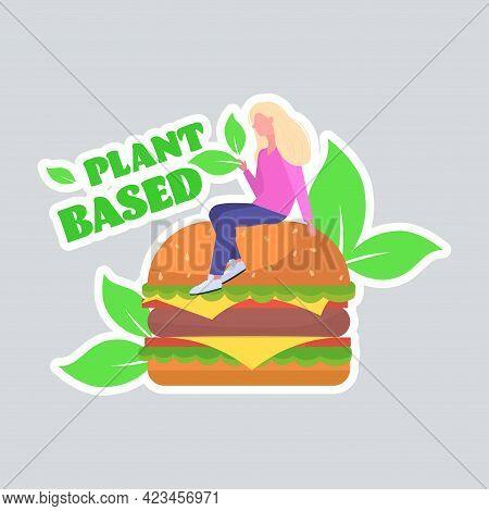 Woman Sitting On Plant Based Meat Hamburger Healthy Lifestyle Vegan Food Concept Full Length