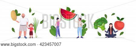 Set People Holding Different Vegetables And Fruits Healthy Lifestyle Vegan Fresh Superfood Concept F