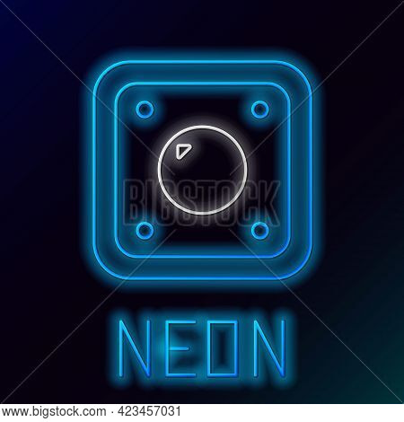 Glowing Neon Line Electric Light Switch Icon Isolated On Black Background. On And Off Icon. Dimmer L