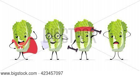 Set Cute Fresh Green Chinese Cabbage Characters Tasty Mascot Vegetable Personages Collection Healthy