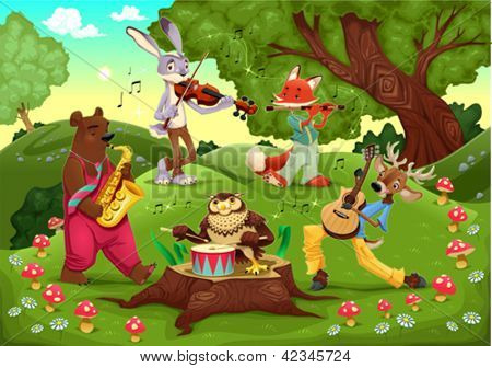 Musicians animals in the wood. Cartoon and vector illustration.