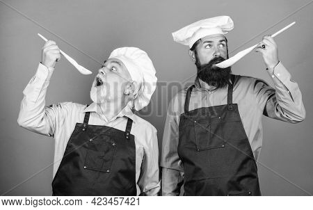 Chef Men Cooking. Kitchen Team Prepare Food. Family Tradition. Eat Concept. Culinary Dynasty. Mature