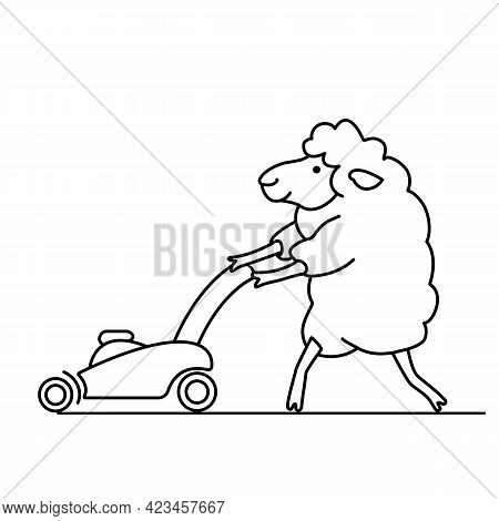 Funny Sheep Mows The Grass With A Lawn Mower And Makes Lawn. Comic Doodle Vector Animal Illustration