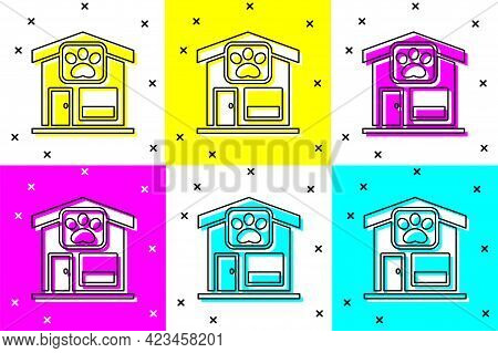Set Pet Grooming Icon Isolated On Color Background. Pet Hair Salon. Barber Shop For Dogs And Cats. V