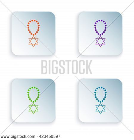 Color Star Of David Necklace On Chain Icon Isolated On White Background. Jewish Religion Symbol. Sym