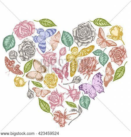 Heart Floral Design With Pastel Lemon Butterfly, Red Lacewing, African Giant Swallowtail, Alcides Ag