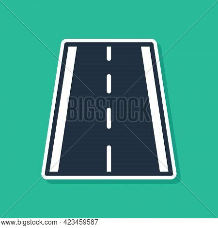 Blue Special Bicycle Ride On The Bicycle Lane Icon Isolated On Green Background. Vector