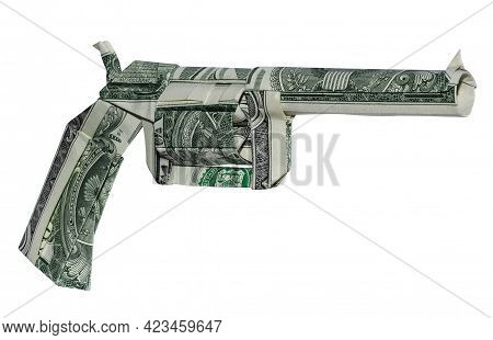 Money Origami Revolver Gun Folded With 3 Real One Dollar Bills Isolated On White Background
