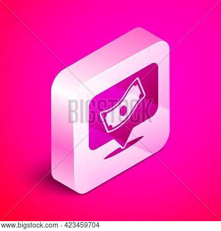 Isometric Stacks Paper Money Cash Icon Isolated On Pink Background. Money Banknotes Stacks. Bill Cur