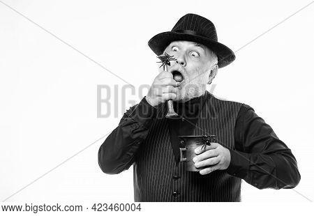 Halloween Concept. Strange People. Elegant Bartender Wear Hat And Vest Prepare Drink. Horror Themed
