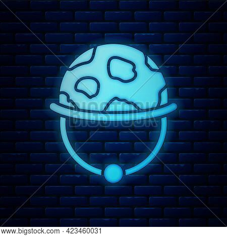 Glowing Neon Military Helmet Icon Isolated On Brick Wall Background. Army Hat Symbol Of Defense And