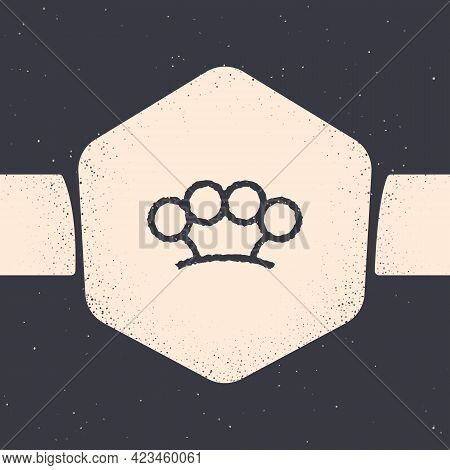 Grunge Brass Knuckles Icon Isolated On Grey Background. Monochrome Vintage Drawing. Vector