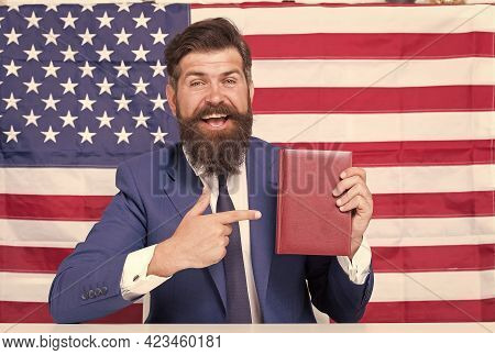Handsome Lawyer Man Promoting American Constitutional Liberties, Free Consulting Concept