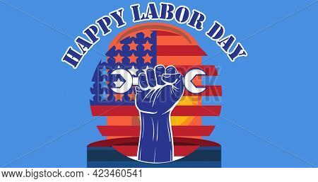 Happy labor day text and hand holding a tool over siren light against blue background. american labor day celebration concept