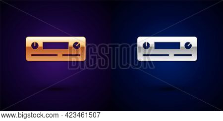 Gold And Silver Car Audio Icon Isolated On Black Background. Fm Radio Car Audio Icon. Vector