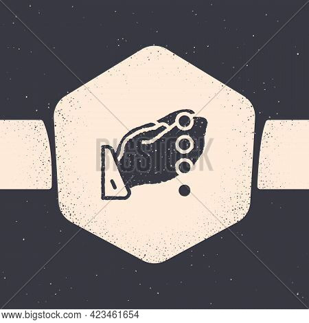Grunge Hands In Praying Position With Rosary Icon Isolated On Grey Background. Praying Hand Islam Mu