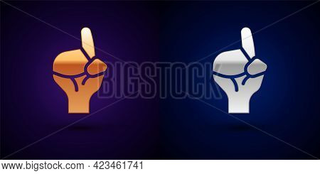 Gold And Silver Hands In Praying Position Icon Isolated On Black Background. Praying Hand Islam Musl