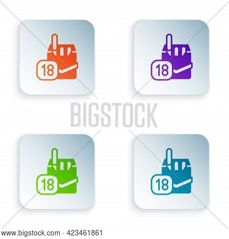 Color Cigarettes Pack Box Icon Isolated On White Background. Age Limit For Cigarettes. Cigarettes Pa