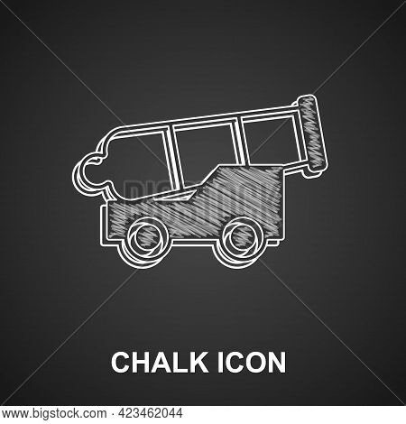 Chalk Cannon Icon Isolated On Black Background. Medieval Weapons. Vector