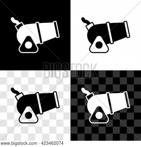 Set Cannon Icon Isolated On Black And White, Transparent Background. Medieval Weapons. Vector