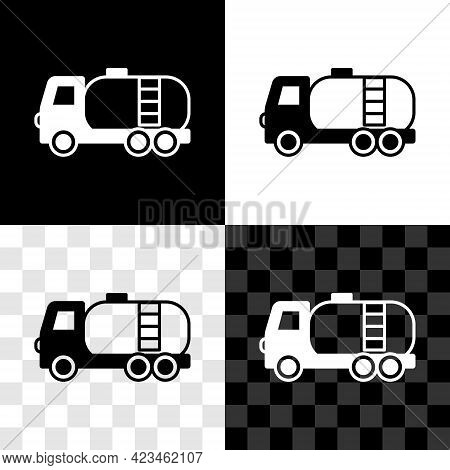 Set Tanker Truck Icon Isolated On Black And White, Transparent Background. Petroleum Tanker, Petrol