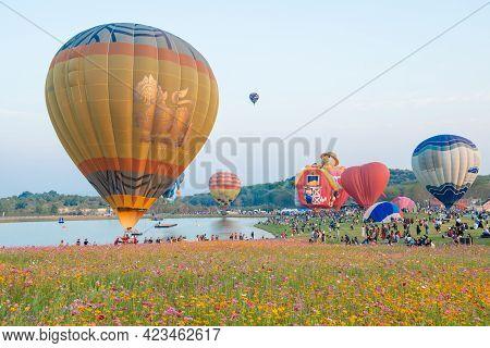 Chiang Rai, Thailand : February-13-2019 : Group Of Hot Air Balloons Flying In Singha Park Chiang Rai