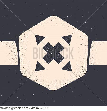 Grunge Many Ways Directional Arrow Icon Isolated On Grey Background. Monochrome Vintage Drawing. Vec