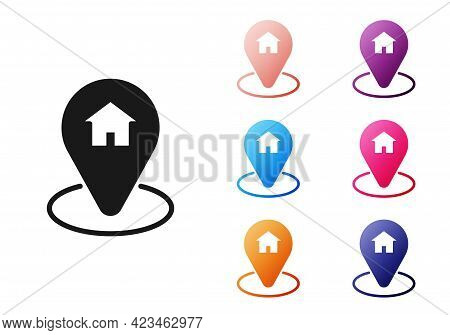 Black Map Pointer With House Icon Isolated On White Background. Home Location Marker Symbol. Set Ico