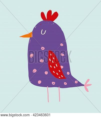 Cute Hand Drawn Vector Illustration With Funny Big Bird. Lovely Nursery Art With Violet Chicken On A