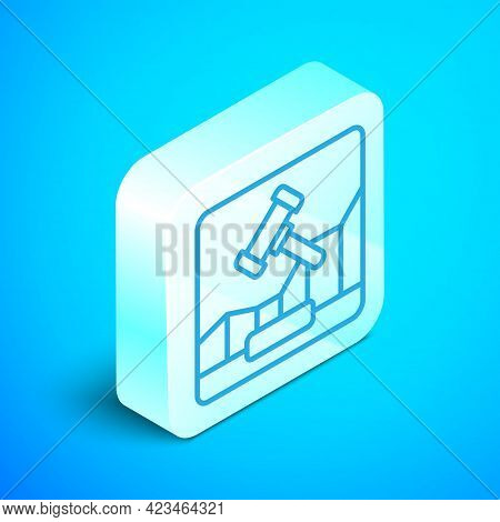 Isometric Line Online Internet Auction Icon Isolated On Blue Background. International Trade Concept