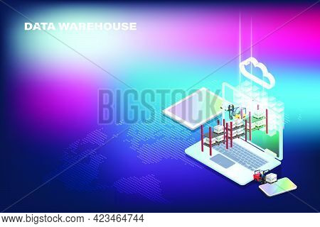 Data Warehouse Concept Is Represented By Forklift Truck That Transport Data On Pallet To Cloud Serve