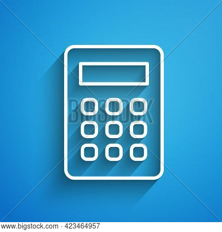White Line Calculator Icon Isolated On Blue Background. Accounting Symbol. Business Calculations Mat