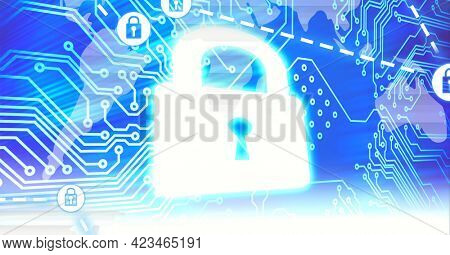 Composition of network of security padlock icons over world map computer circuit board. global online security, connections, data processing and digital interface concept digitally generated image.