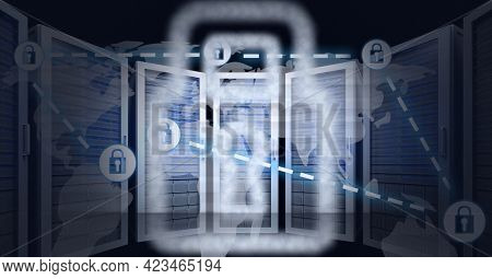 Composition of network of online security padlocks over computer servers. global online security, connections, data processing and digital interface concept digitally generated image.