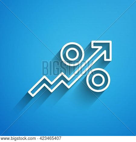 White Line Percent Up Arrow Icon Isolated On Blue Background. Increasing Percentage Sign. Long Shado