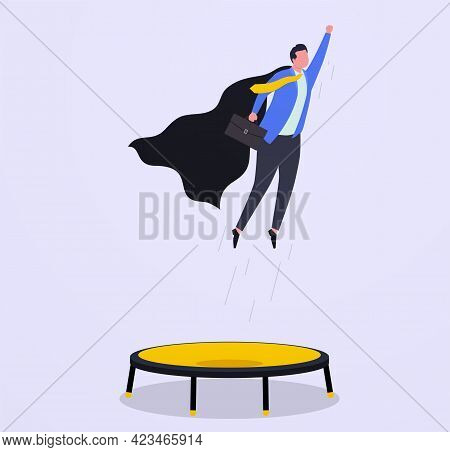 Business Growth, Goal Achievement And Leadership Concept, Overcome Financial Difficulties. Superhero