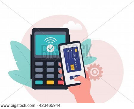 Contactless Payment From A Smartphone. Concept Of Contactless Cashless Payments In The Payment Termi