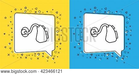 Set Line Hearing Aid Icon Isolated On Yellow And Blue Background. Hearing And Ear. Vector