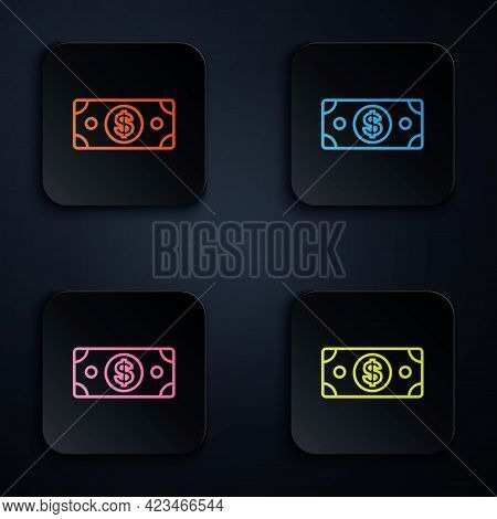 Color Neon Line Stacks Paper Money Cash Icon Isolated On Black Background. Money Banknotes Stacks. B
