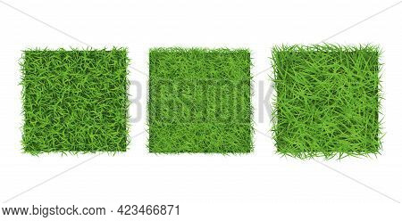 Green Grass Border On White Background, Top View. Background Square Texture Of Ground Surface With G