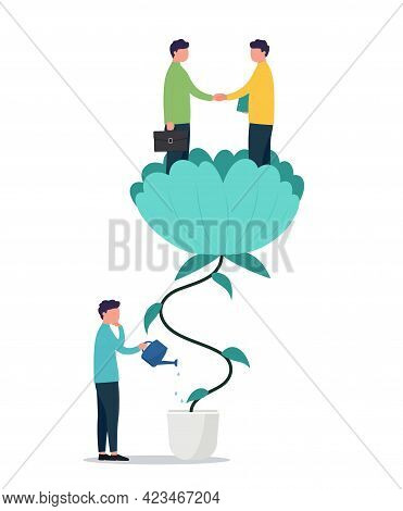 Business Concept Cooperation And Teamwork, Vector Partnership And Entrepreneurship Success. Business