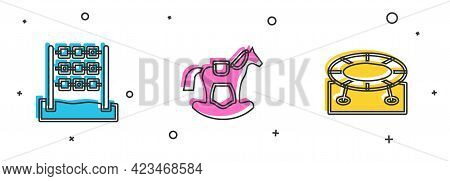 Set Tic Tac Toe Game, Horse In Saddle Swing And Jumping Trampoline Icon. Vector