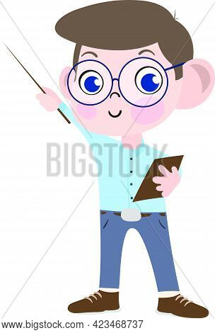 A Cute And Adorable Child Character In Cartoon Style. Kindergarten Preschool Kid Dressed As College